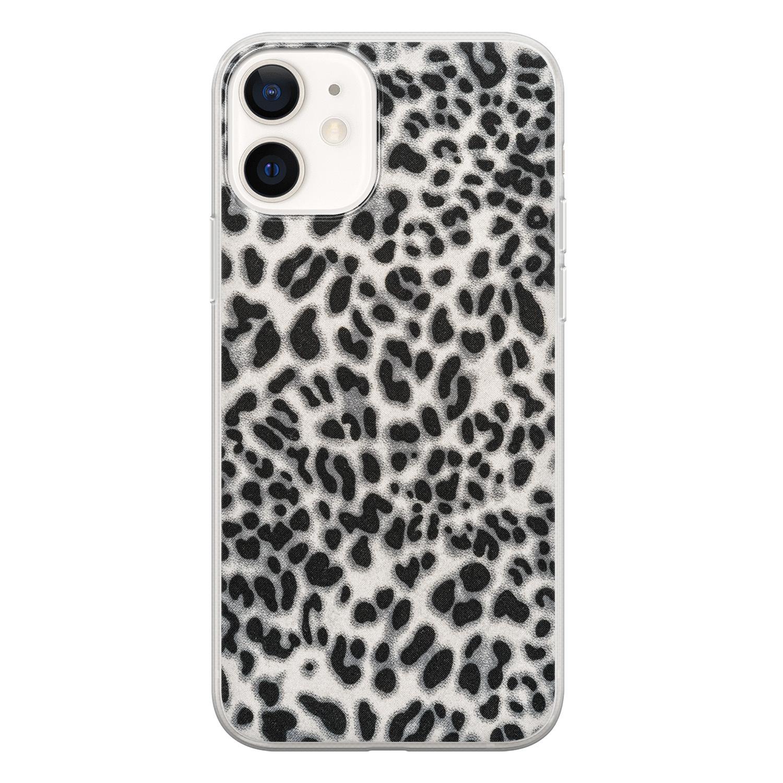 iPhone 12 siliconen hoesje - Luipaard grijs