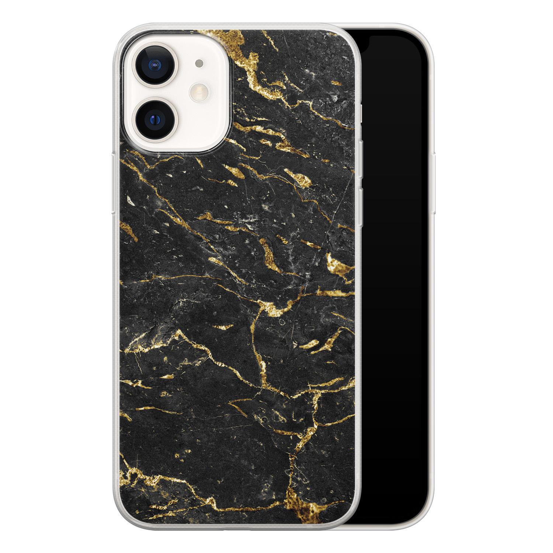 iPhone 12 siliconen hoesje - Marmer zwart goud
