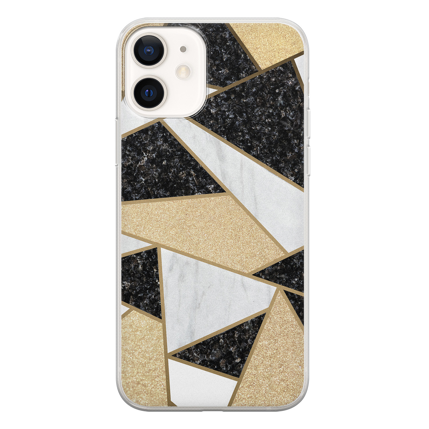 iPhone 12 siliconen hoesje - Goud abstract