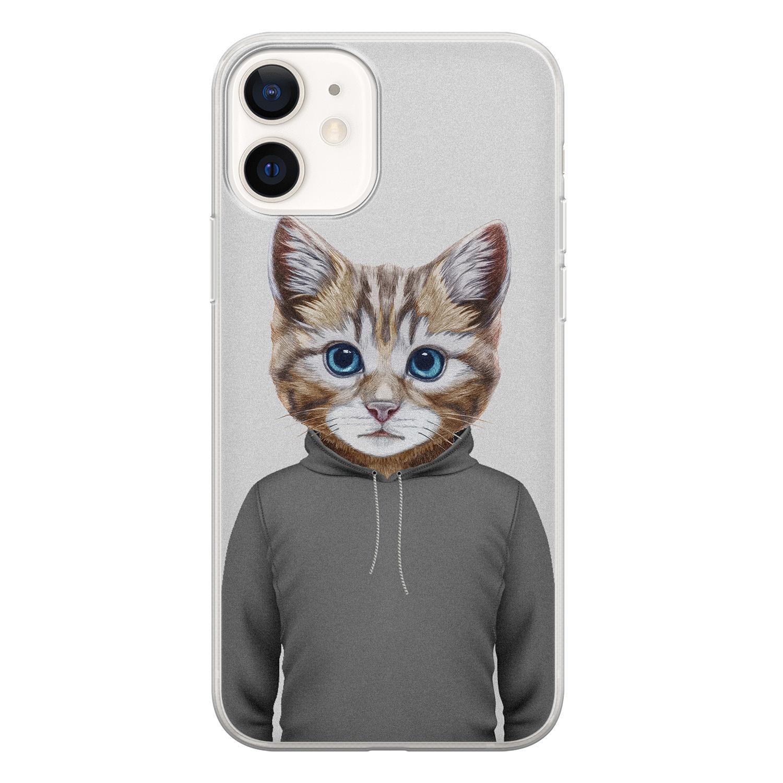 iPhone 12 siliconen hoesje - Poezenhoofd