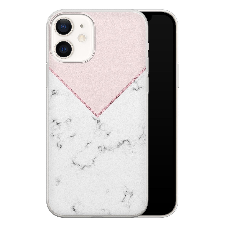 iPhone 12 siliconen hoesje - Marmer roze grijs