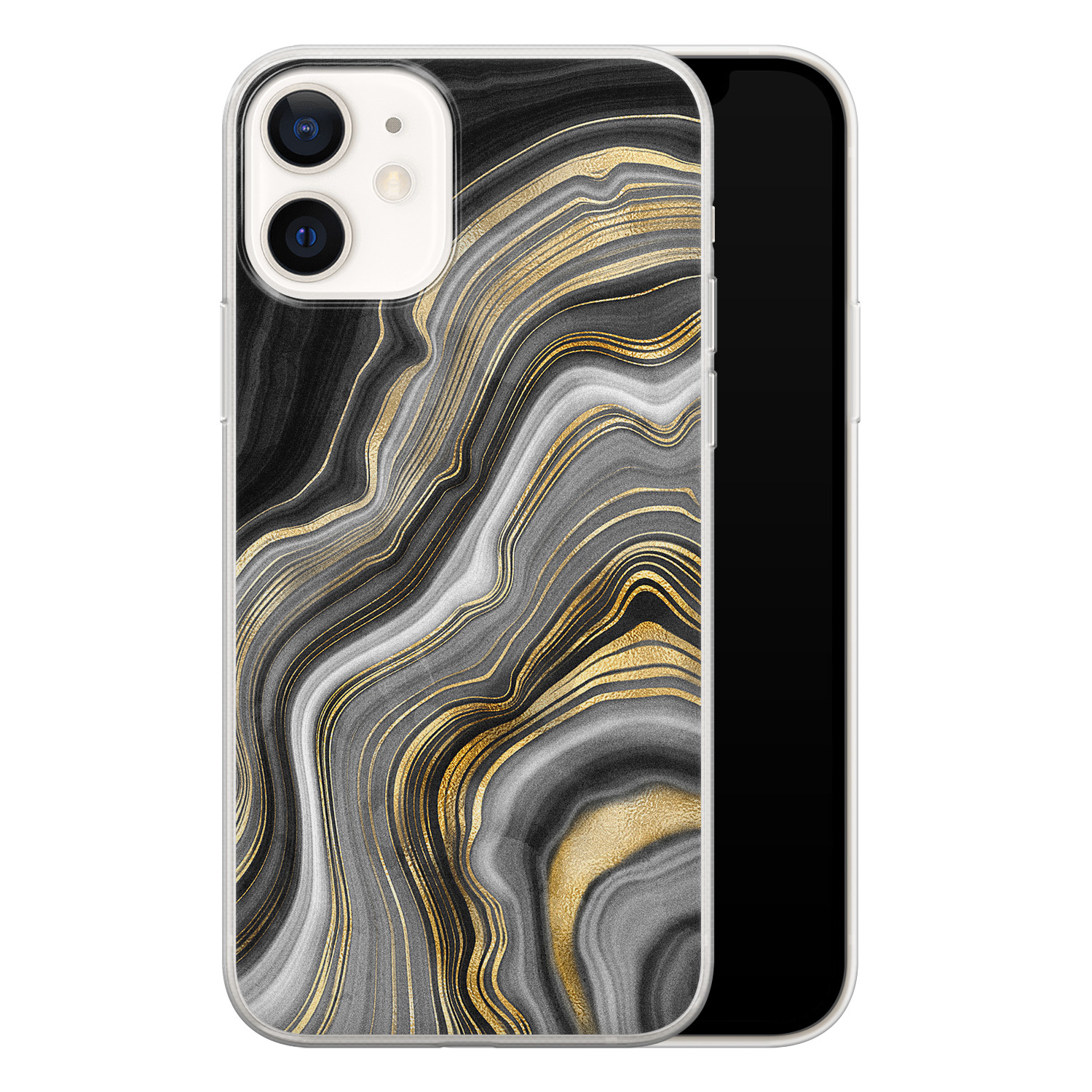 iPhone 12 siliconen hoesje - Golden agate