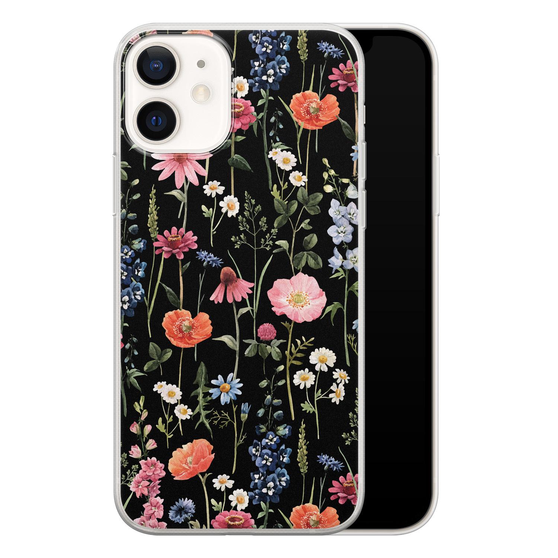 iPhone 12 siliconen hoesje - Dark flowers