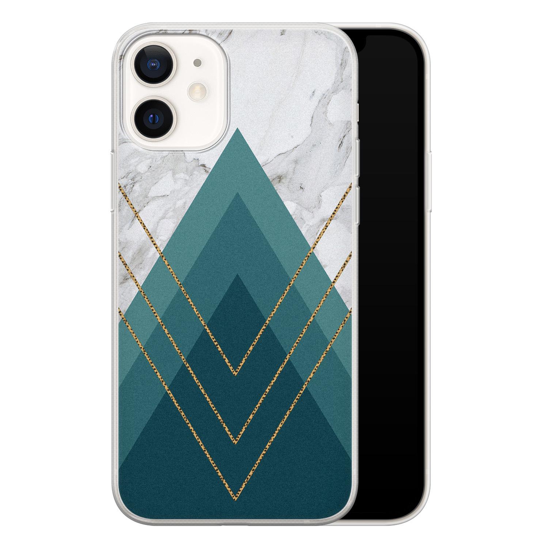 iPhone 12 siliconen hoesje - Geometrisch blauw