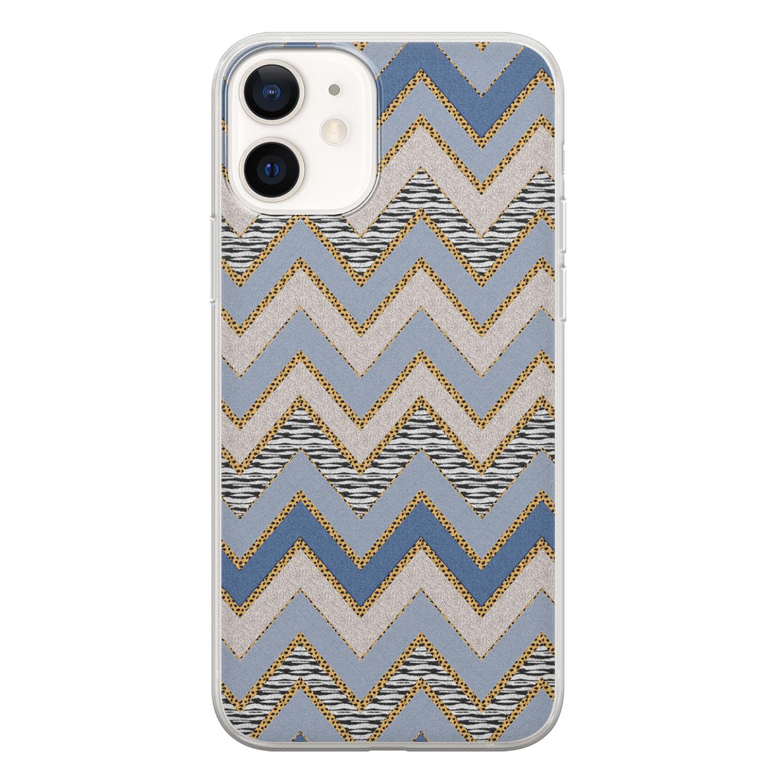 iPhone 12 siliconen hoesje - Retro zigzag