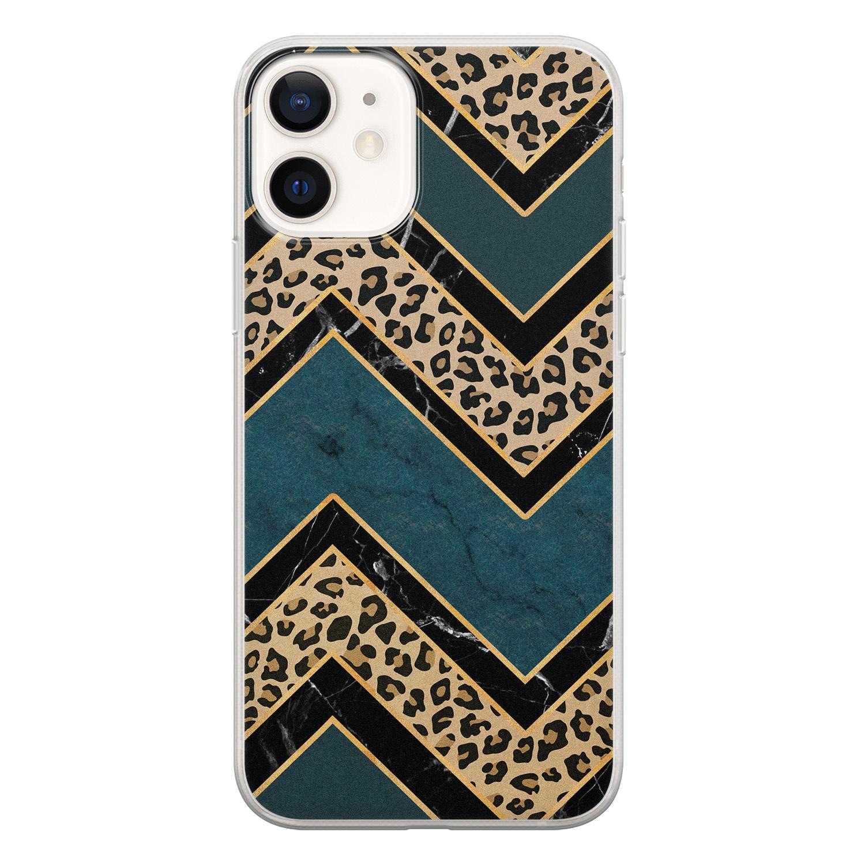 Leuke Telefoonhoesjes iPhone 12 siliconen hoesje - Luipaard zigzag