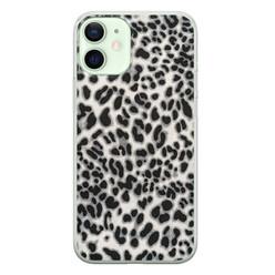 iPhone 12 mini siliconen hoesje - Luipaard grijs