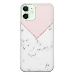 iPhone 12 mini siliconen hoesje - Marmer roze grijs
