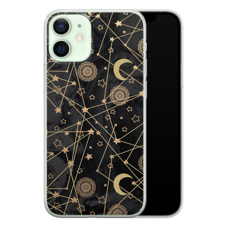 iPhone 12 mini siliconen hoesje - Sun, moon, stars