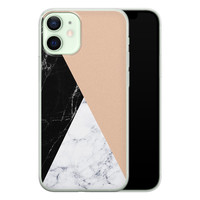 iPhone 12 mini siliconen hoesje - Marmer zwart bruin