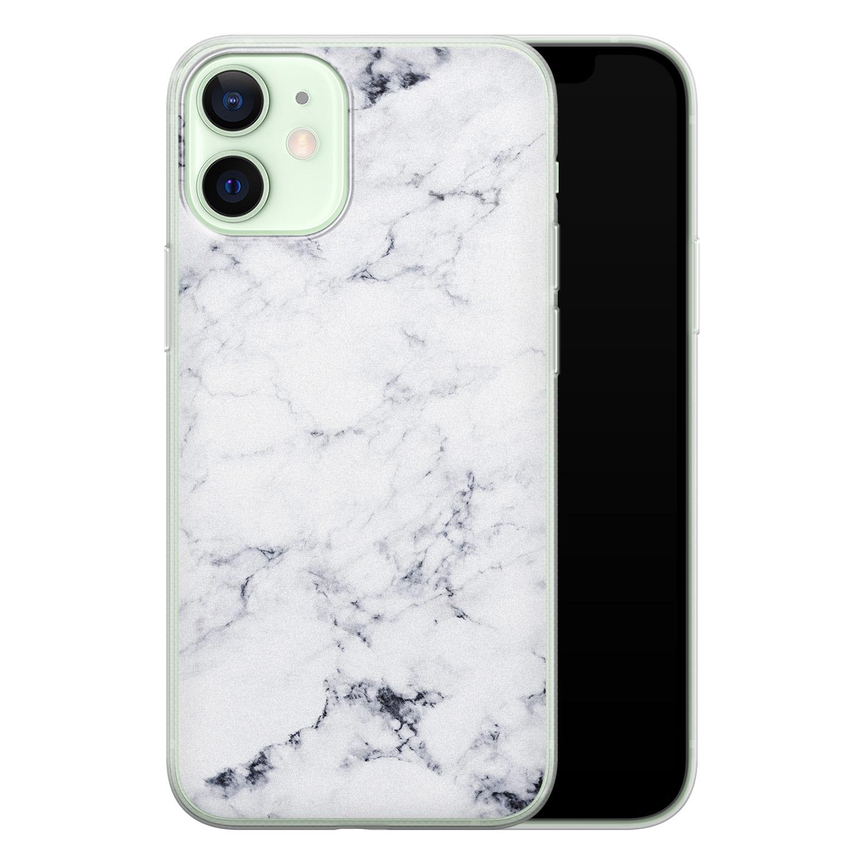 iPhone 12 mini siliconen hoesje - Marmer grijs
