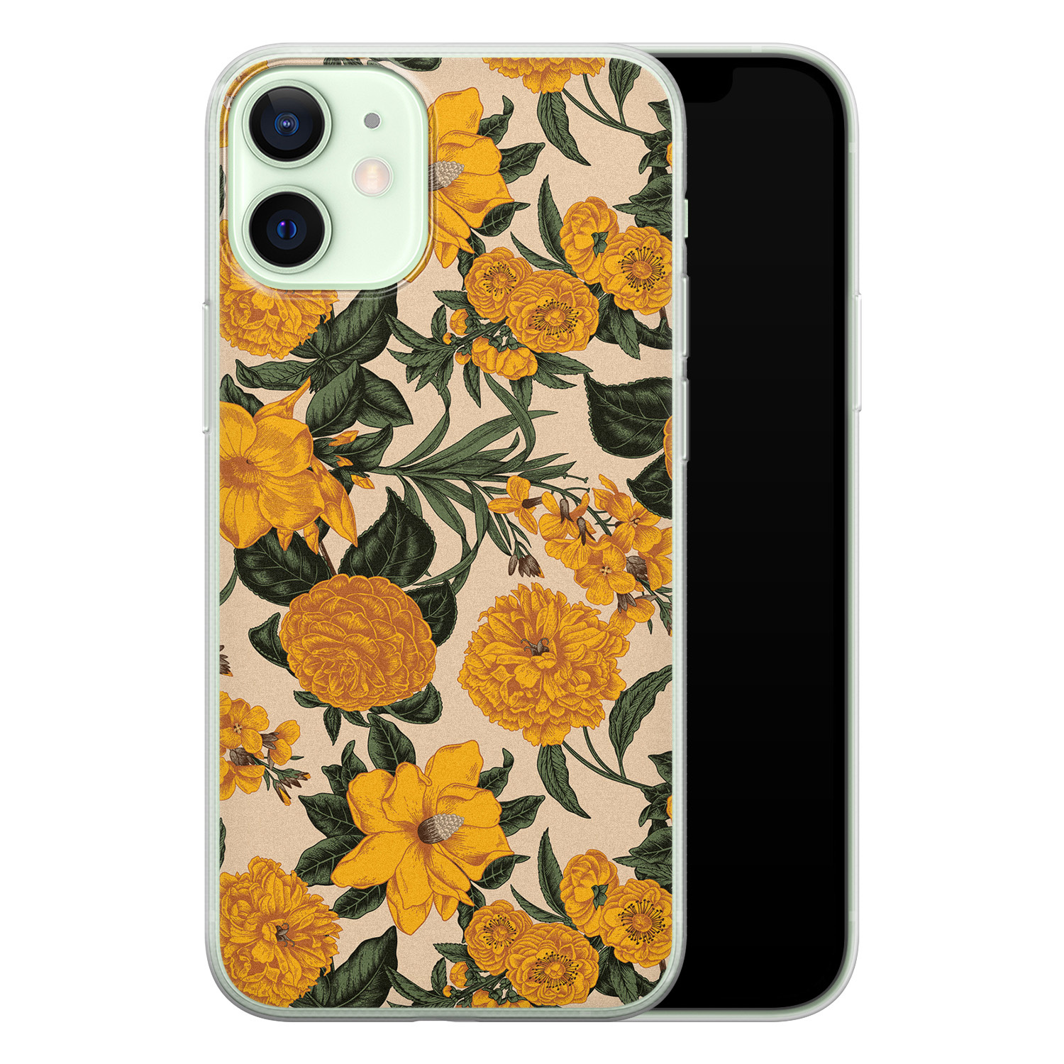 iPhone 12 mini siliconen hoesje - Retro flowers