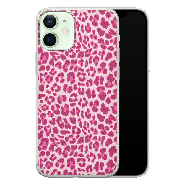 iPhone 12 mini siliconen hoesje - Luipaard roze