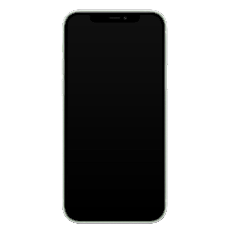 iPhone 12 mini siliconen hoesje - Witte bloemen