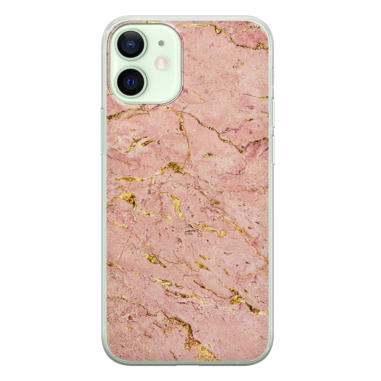 iPhone 12 mini siliconen hoesje - Marmer roze goud