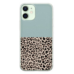 iPhone 12 mini siliconen hoesje - Luipaard mint