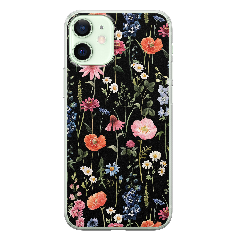 Leuke Telefoonhoesjes iPhone 12 mini siliconen hoesje - Dark flowers