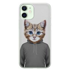 iPhone 12 mini siliconen hoesje - Poezenhoofd
