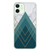 iPhone 12 mini siliconen hoesje - Geometrisch blauw