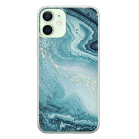 iPhone 12 mini siliconen hoesje - Marmer blauw
