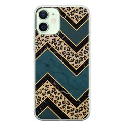 iPhone 12 mini siliconen hoesje - Luipaard zigzag