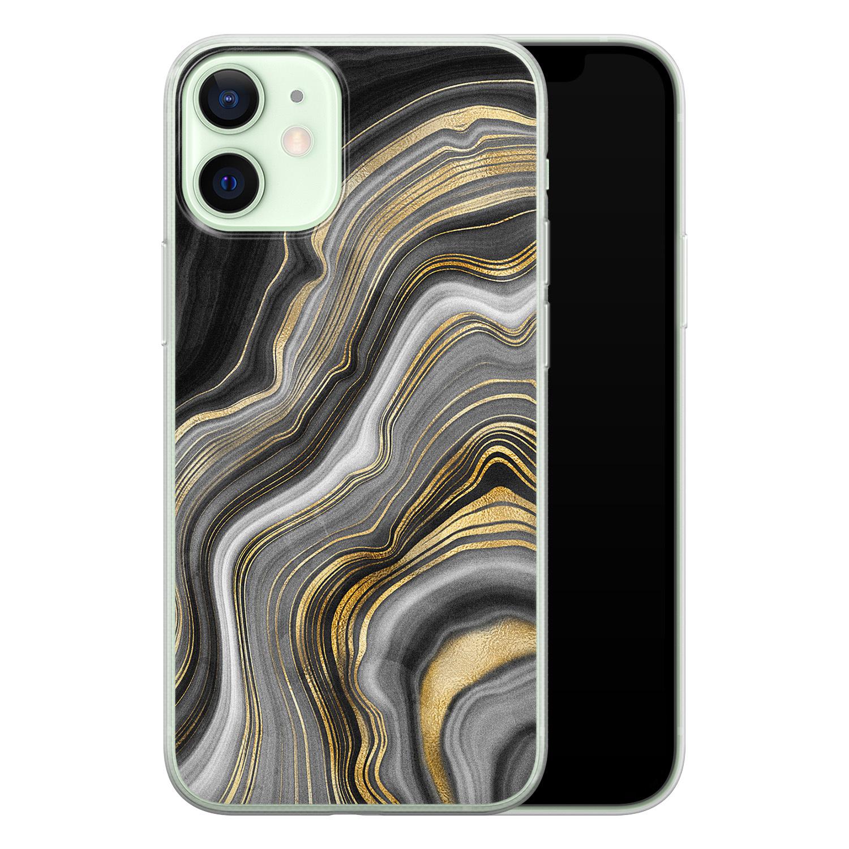 iPhone 12 mini siliconen hoesje - Golden agate