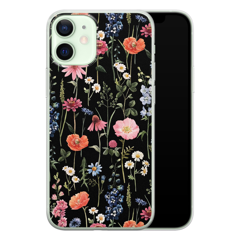 iPhone 12 mini siliconen hoesje - Dark flowers
