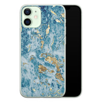 iPhone 12 mini siliconen hoesje - Goud blauw marmer