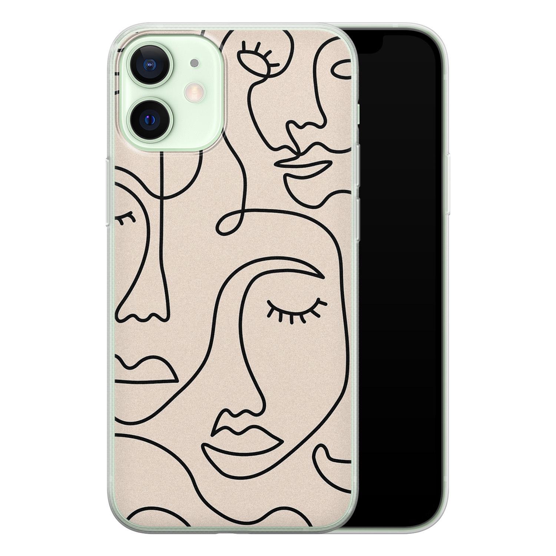 iPhone 12 mini siliconen hoesje - Abstract gezicht lijnen