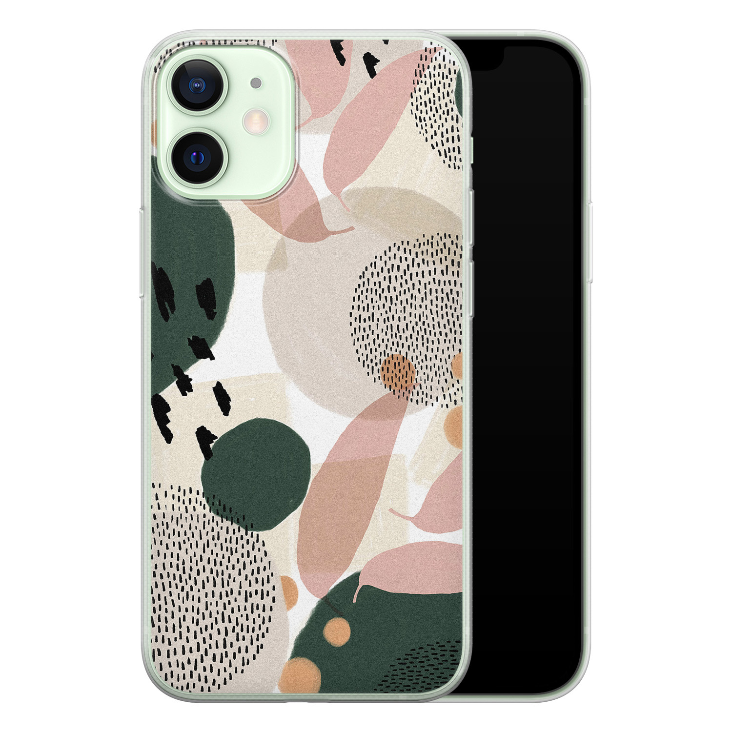 iPhone 12 mini siliconen hoesje - Abstract print