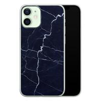 iPhone 12 mini siliconen hoesje - Marmer navy blauw
