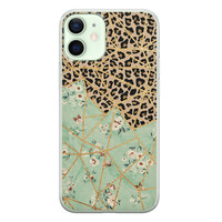 iPhone 12 mini siliconen hoesje - Luipaard flower print