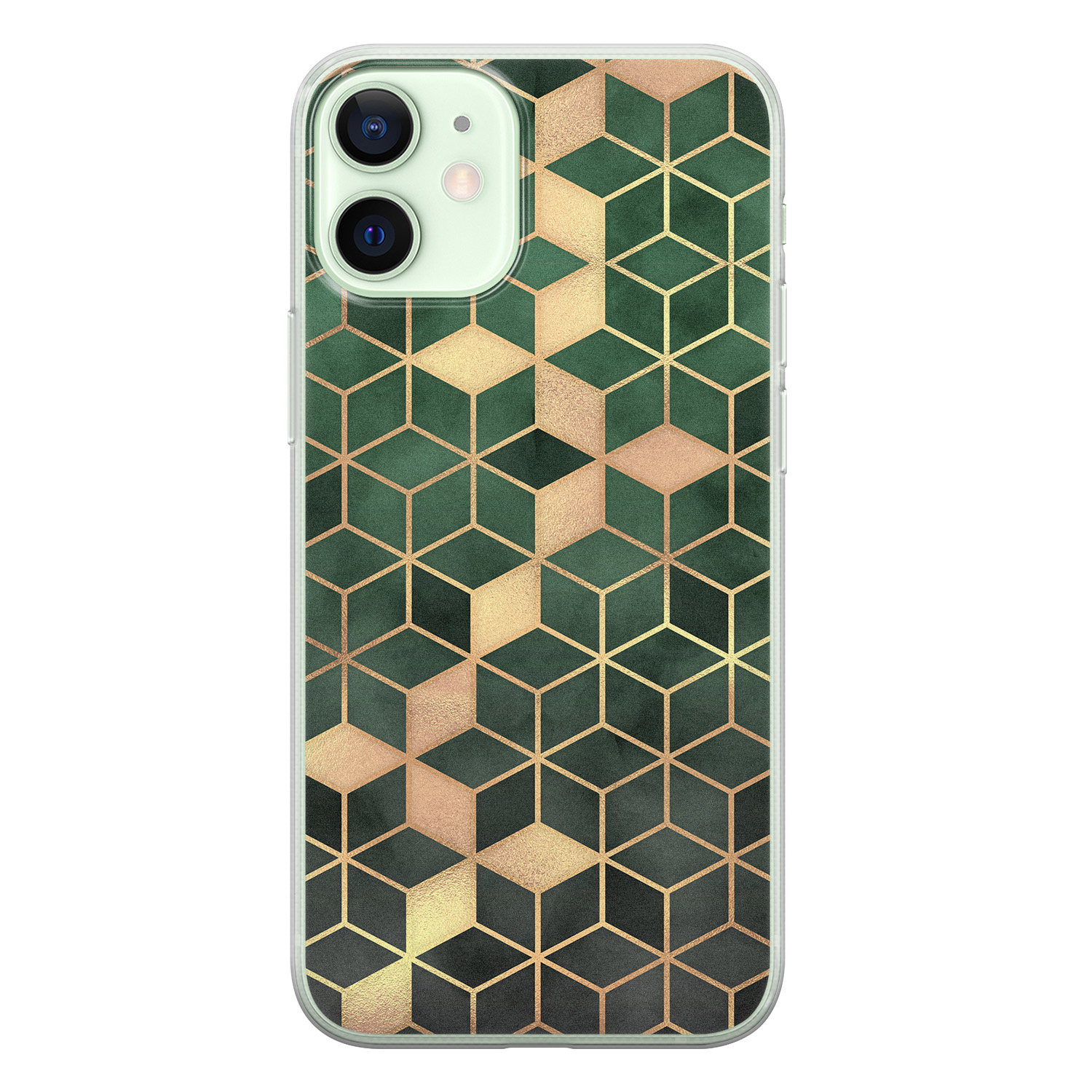 iPhone 12 mini siliconen hoesje - Green cubes
