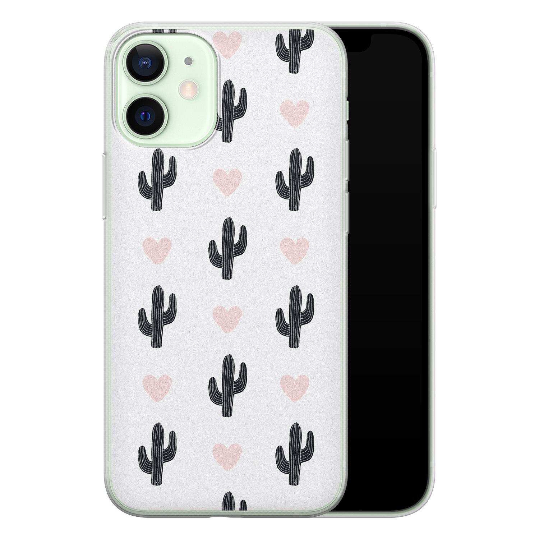 Leuke Telefoonhoesjes iPhone 12 mini siliconen hoesje - Cactus love