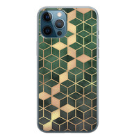 iPhone 12 Pro siliconen hoesje - Green cubes