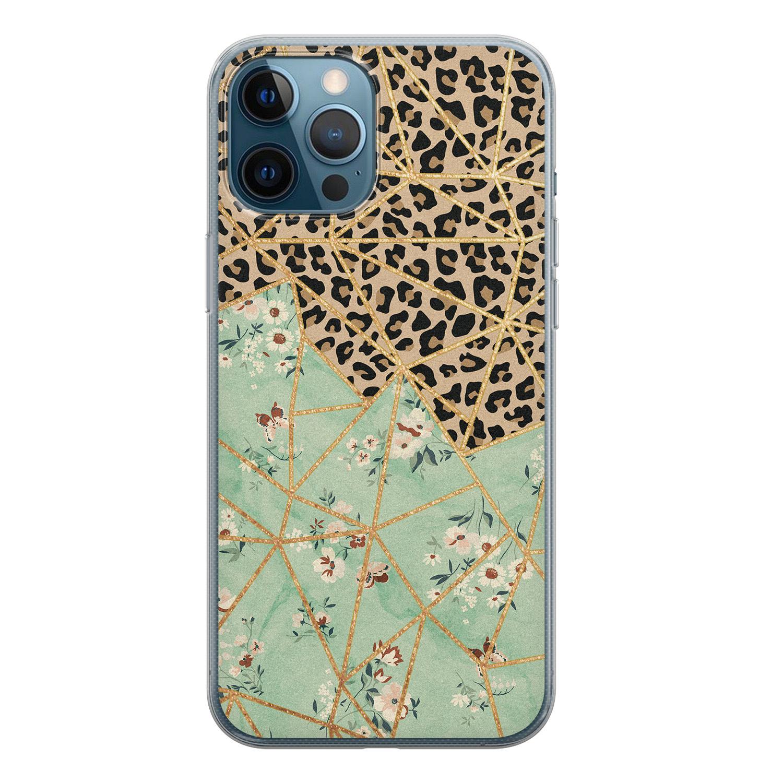 iPhone 12 Pro siliconen hoesje - Luipaard flower print