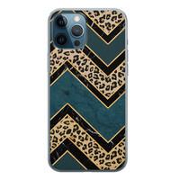 iPhone 12 Pro siliconen hoesje - Luipaard zigzag