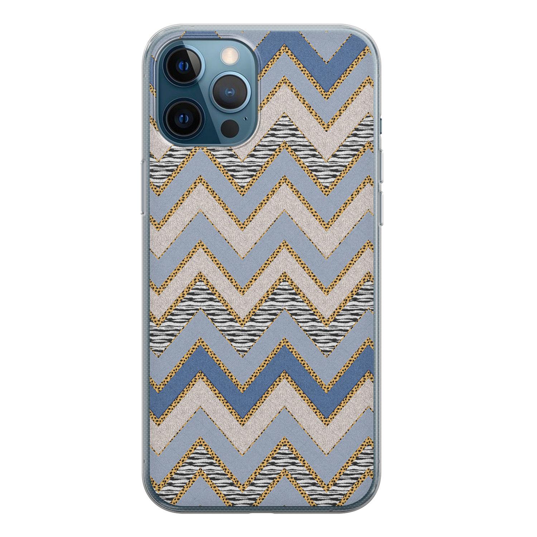 iPhone 12 Pro siliconen hoesje - Retro zigzag
