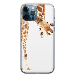 iPhone 12 Pro siliconen hoesje - Giraffe peekaboo