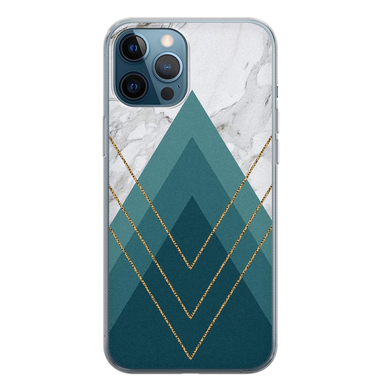 iPhone 12 Pro siliconen hoesje - Geometrisch blauw
