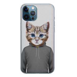 iPhone 12 Pro siliconen hoesje - Poezenhoofd