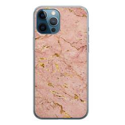 iPhone 12 Pro siliconen hoesje - Marmer roze goud