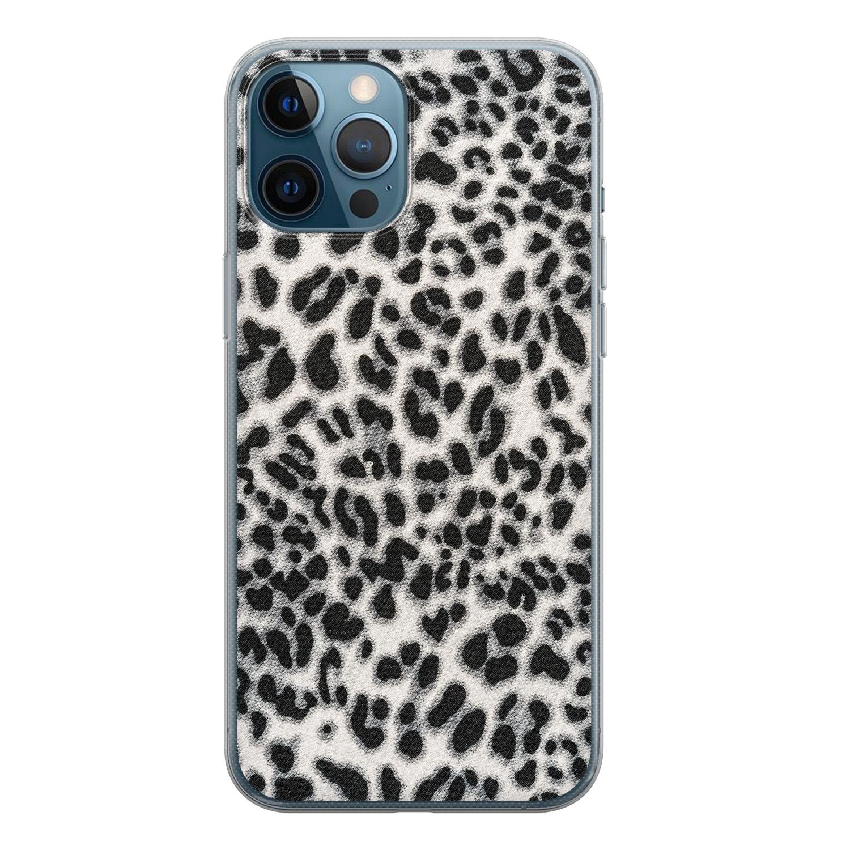 Leuke Telefoonhoesjes iPhone 12 Pro siliconen hoesje - Luipaard grijs