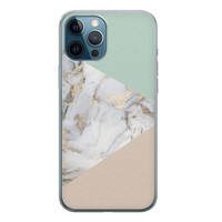 iPhone 12 Pro siliconen hoesje - Marmer pastel mix