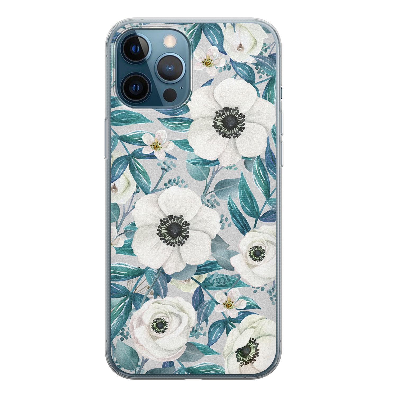 iPhone 12 Pro siliconen hoesje - Witte bloemen