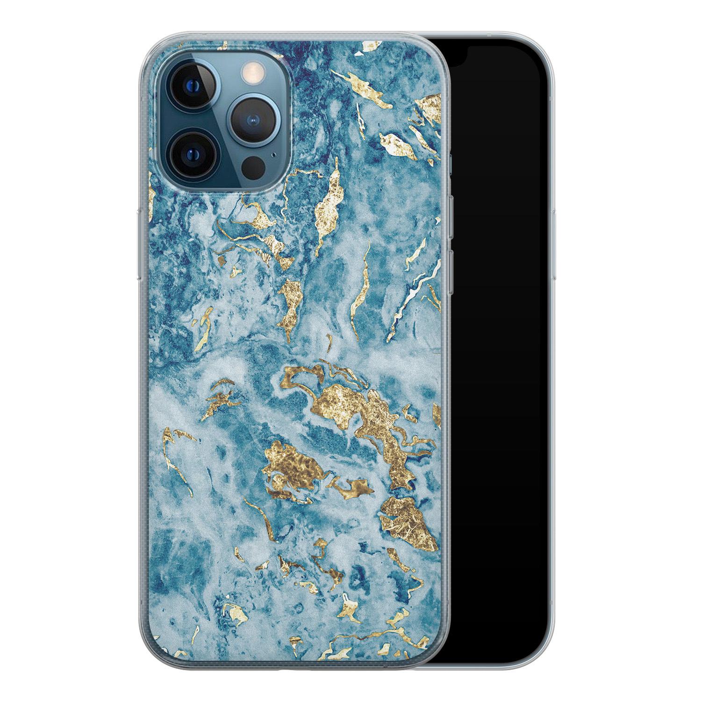 iPhone 12 Pro siliconen hoesje - Goud blauw marmer