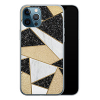 iPhone 12 Pro siliconen hoesje - Goud abstract