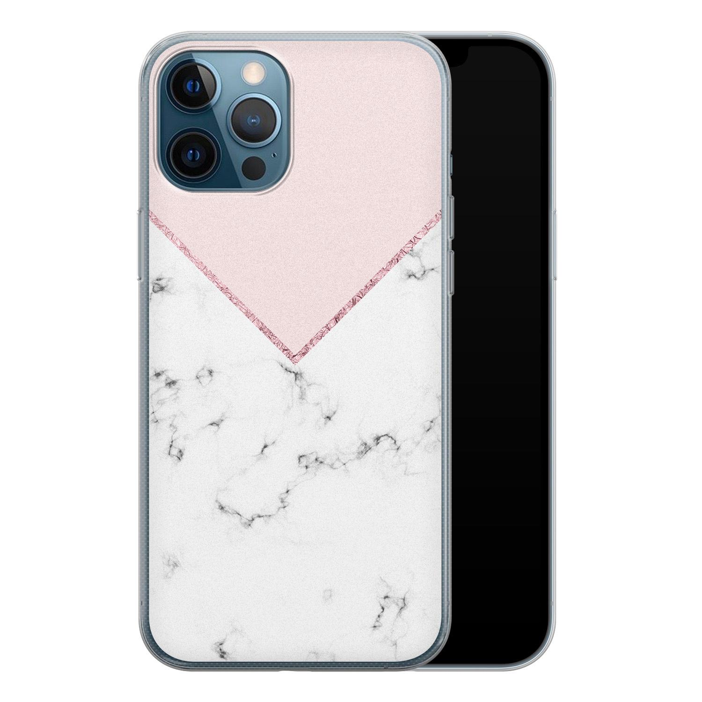iPhone 12 Pro siliconen hoesje - Marmer roze grijs