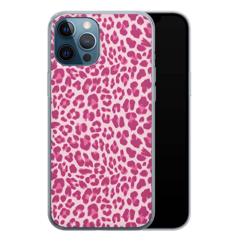 iPhone 12 Pro siliconen hoesje - Luipaard roze
