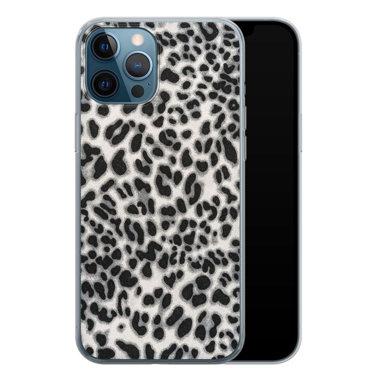 iPhone 12 Pro siliconen hoesje - Luipaard grijs
